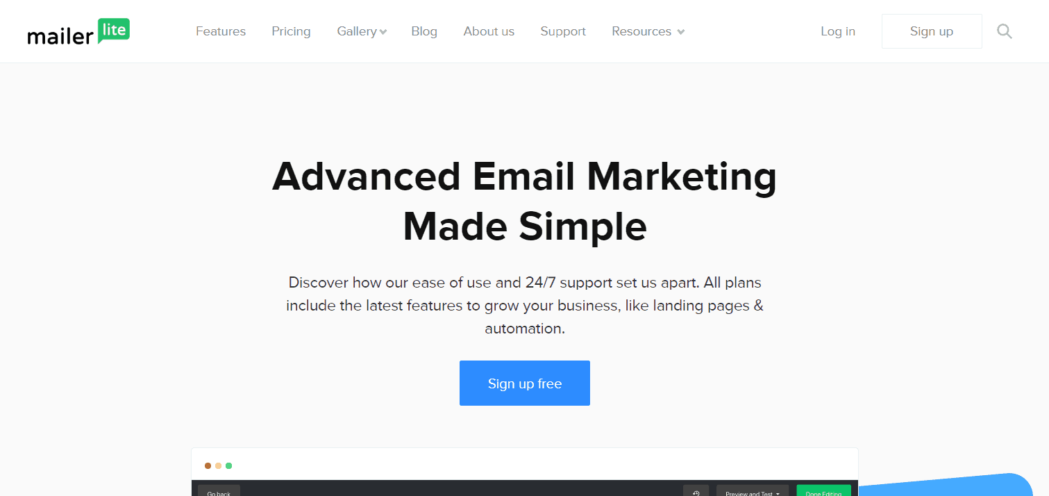 mailer lite email marketing website screenshot