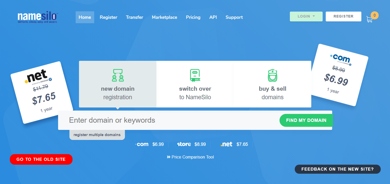 namesilo domain registrar website screenshot