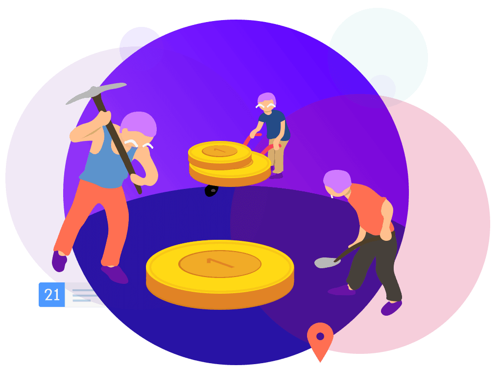 vector image of people working and coins