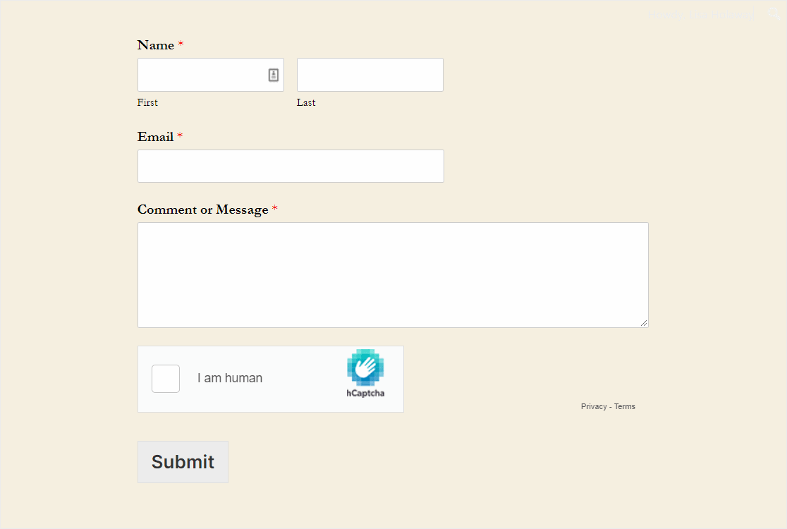 Contact Form With Hcaptcha